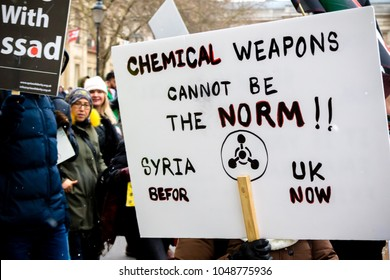 London, United Kingdom, 17th March 2018:- Anti Syrian President Assad protesters march in central London on the 7th anniversary of the start of the Syrian civil war.