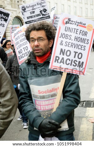 London, United Kingdom, 17th March 2018:- The Stand Up to Racism march through central London