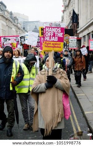 London, United Kingdom, 17th March 2018:- The Stand Up to Racism march through central London from the BBC to outside Downing Street