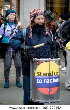 London, United Kingdom, 17th March 2018:- Drummers play at the Stand Up to Racism march through central London