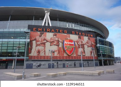 LONDON, UNITED KINGDOM - 18 MARCH 2018: Outside view of Emirates Stadium,the home ground for Arsenal Football Club. With a capacity of over 60,000, it is the third-largest football stadium