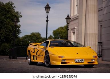 London, United Kingdom - 18/07/2015: A very rare Lamborghini Diablo SV parking in front of the Lanesborough hotel, near Hyde Park corner, in London.