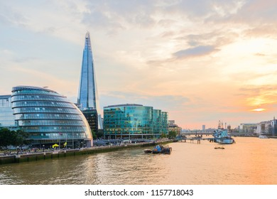 London / United Kingdom - 18.7.2017: London cityscape with modern buildings with Shard and river Thames during sunset in London Uk. Travel concept.