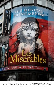 London, United Kingdom, 18th Febuary 2018:- Les Miserables at the Queen's theatre in London's theatreland