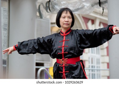 London, United Kingdom, 18th Febuary 2018:- Martial art demonstrations as part of the festivities to celebrate Chinese New Year in London's Chinatown area, for the year of the dog 2018
