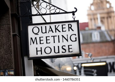 London, United Kingdom, 18th July 2019, sign for a quaker meeting house on St Martins Lane in central london