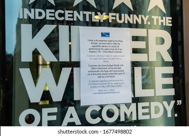 London, United Kingdom.  19th March 2020. The Prince of Wales Theatre is closed as the UK adjusts to life under the Coronavirus pandemic. Michael Tubi/Alamy Live News