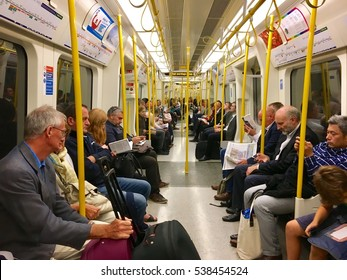 London, United Kingdom - 20th September 2016:Conceptual image of Train and Commuters travelling in London underground, UK