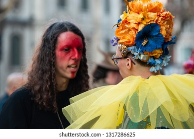 London / United Kingdom - 2.15.2019: Eccentric guests of London Fashion Week prior to a show on the Strand