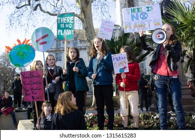 London / United Kingdom - 2.15.2019: Youth Strike For Climate protest at the Parliament Square