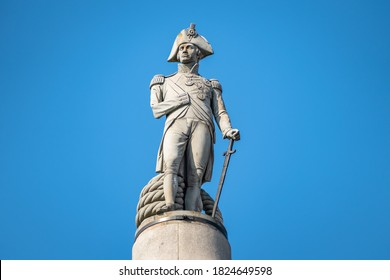 London, United Kingdom - 21st Sept 2020: London UK, Trafalgar Square with Nelson's Column, justified to allow for copy space