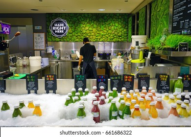 LONDON, UNITED KINGDOM -22 JUN 2017- A Whole Foods store in London. The expensive organic grocery store chain was acquired by Amazon in June 2017.