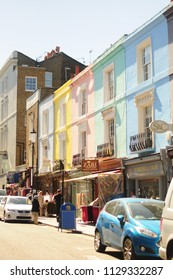 London, United Kingdom - 23 June 2018  : street view of Portobello Market in Notting Hill, London. Its is the world's largest antiques market with over 1,000 dealers.
