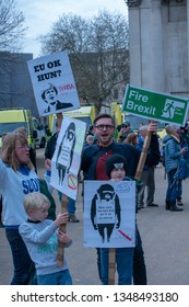 London -London , United Kingdom - 23 March , 2019: Images from The Peoples Vote March showing a huge crowd with signs. - Image