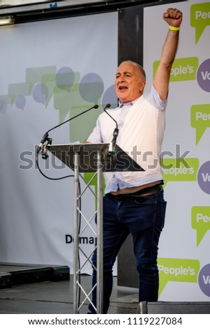 London, United Kingdom, 23rd June 2018:-  Actor Sir Tony Robinson speaks at the march for a People's Vote on the UK Brexit deal