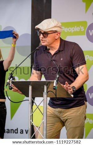 London, United Kingdom, 23rd June 2018:- Activists speak at The March for a People's Vote in Central London demanding a vote on the final deal on Britain's exit from the EU