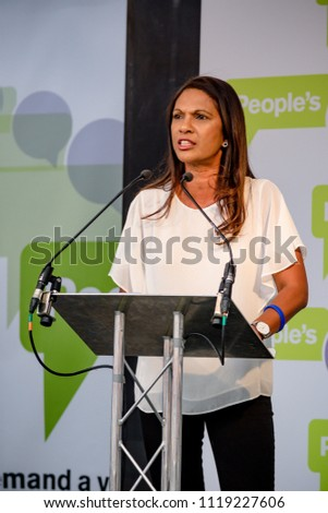 London, United Kingdom, 23rd June 2018:- Gina Miller who took the UK Government to the UK Supreme court and won over Parliament's role in Brexit speaks for a People's vote on the final UK Brexit deal