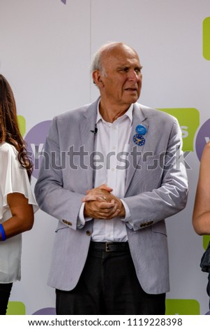 London, United Kingdom, 23rd June 2018:- Vince Cable MP Leader of the Liberal Democrats at The March for a People's Vote in Central London