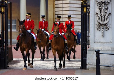 LONDON, UNITED KINGDOM -  25th June 2019: The British Queen's birthday celebration is on 8th June. Two weeks in advance a rehearsal takes place. Royal horsemen in front of the Buckingham palace,