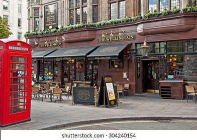 LONDON, UNITED KINGDOM - 26 APRIL, 2015: Typical British pub in London, United Kingdom on 26 April, 2015. Pub business in the UK has been declining every year.