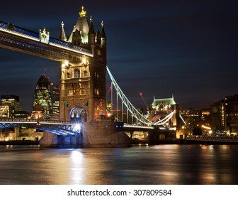 LONDON, UNITED KINGDOM - 26 APRIL, 2015: The famous Tower Bridge in London on 26 April 2015. Tower Bridge is a combined bascule and suspension bridge in London crossing the River Thames.