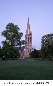 LONDON, UNITED KINGDOM - 26 APRIL 2017: view of St Mary's Church, Stoke Newington at dusk, seen from Clissold Park.