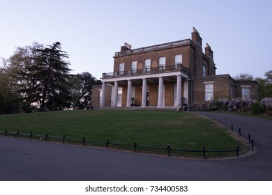 LONDON, UNITED KINGDOM - 26 APRIL 2017: view of The House at Clissold Park, Stoke Newington, at dusk.