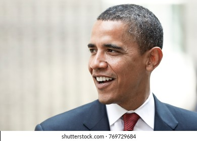 LONDON, UNITED KINGDOM- 26 JULY 2008: U.S. Democratic presidential candidate Senator Barack Obama smiles during an event in London.