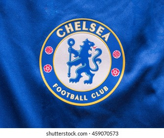 LONDON, UNITED KINGDOM - 27 July 2016 -Logo of London club, Chelsea FC on Chelsea shirt.