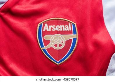 LONDON, UNITED KINGDOM - 27 July 2016 -Logo of London club, Arsenal FC on shirt.
