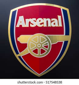 LONDON, UNITED KINGDOM - 27 July 2016 -Logo of London club, Arsenal FC on glass outside the Emirates Stadium.
