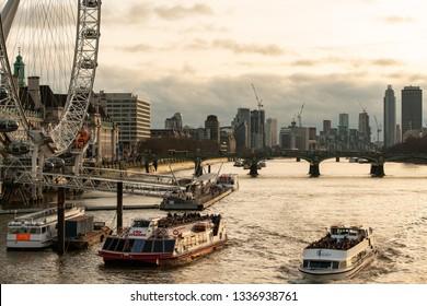 London, United Kingdom, 29 December 2018- London city view from Waterloo Bridge at sunset sky .