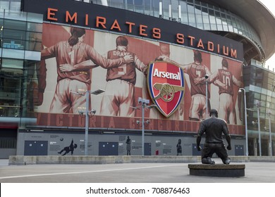 London, United Kingdom - 3 September 2017: View of the statue of Thierry Henry in front of the Arsenal Emirates Football Stadium.