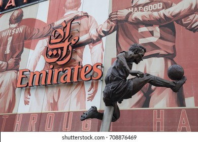 London, United Kingdom - 3 September 2017: View of the statue of Dennis Bergkamp in front of the Arsenal Emirates Football Stadium.