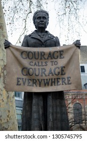 London, United Kingdom, 31st January 2019:- Statue of Millicent Garrett Fawcett located in Parliament Square, central London