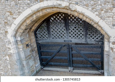 London, United Kingdom, 31st January 2019:- The gateway famously known as Traitor's Gate into the Tower of London