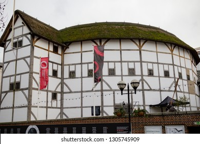 London, United Kingdom, 31st January 2019:- Shakespeare's Globe Theatre located on the South Bank of the Thames