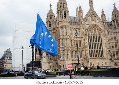 London, United Kingdom, 31st January 2019:- The European Union flag flying outside the Houses of Parliament