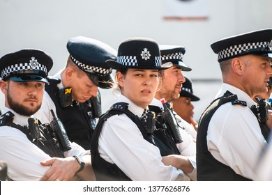 London / United Kingdom - 4.20.2019: Police at the Extinction Rebellion protests in Oxford Circus
