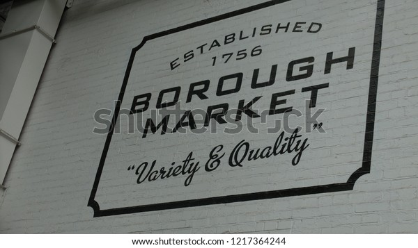 LONDON, UNITED KINGDOM - 5 of June , 2015: The sign of Borough Market