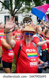 London, United Kingdom, 6th July 2019:- Participants from the London Fire Service taking part in the London Pride Parade 2019