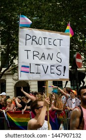 London, United Kingdom, 6th July 2019:- Participants in London Pride 2019 calling for the protection of Trans Rights