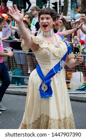 London, United Kingdom, 6th July 2019:- Drag Queen dressed at Queen Elizabeth marches in London Pride 2019