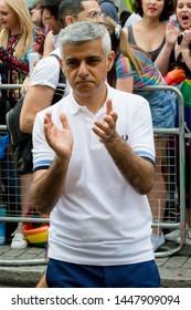London, United Kingdom, 6th July 2019:- London Mayor Sadiq Khan taking part in London Pride 2019