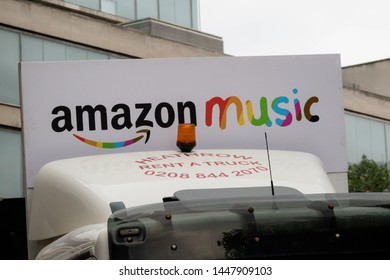 London, United Kingdom, 6th July 2019:- Amazon Music truck drives in the London Pride 2019 parade