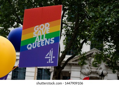London, United Kingdom, 6th July 2019:- Participants from Channel 4 march during London Pride 2019