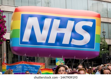 London, United Kingdom, 6th July 2019:- Participants from the NHS taking part in London Pride 2019