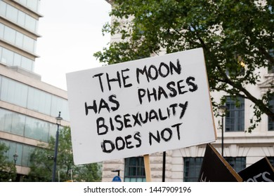 London, United Kingdom, 6th July 2019:- A sign about Bisexuality at London Pride 2019