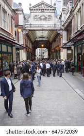 London, United Kingdom, 7 may 2017: large crowd of people for lunch at leadenhall market near city of london