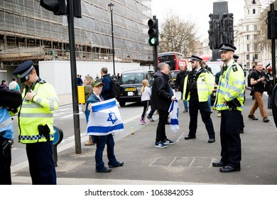 London, United Kingdom, 7st April 2018:- Pro Israel Protesters near Downing Street to counter protest the Pro Palestinian protest due to killings by the Israeli  army during of the Great Return March